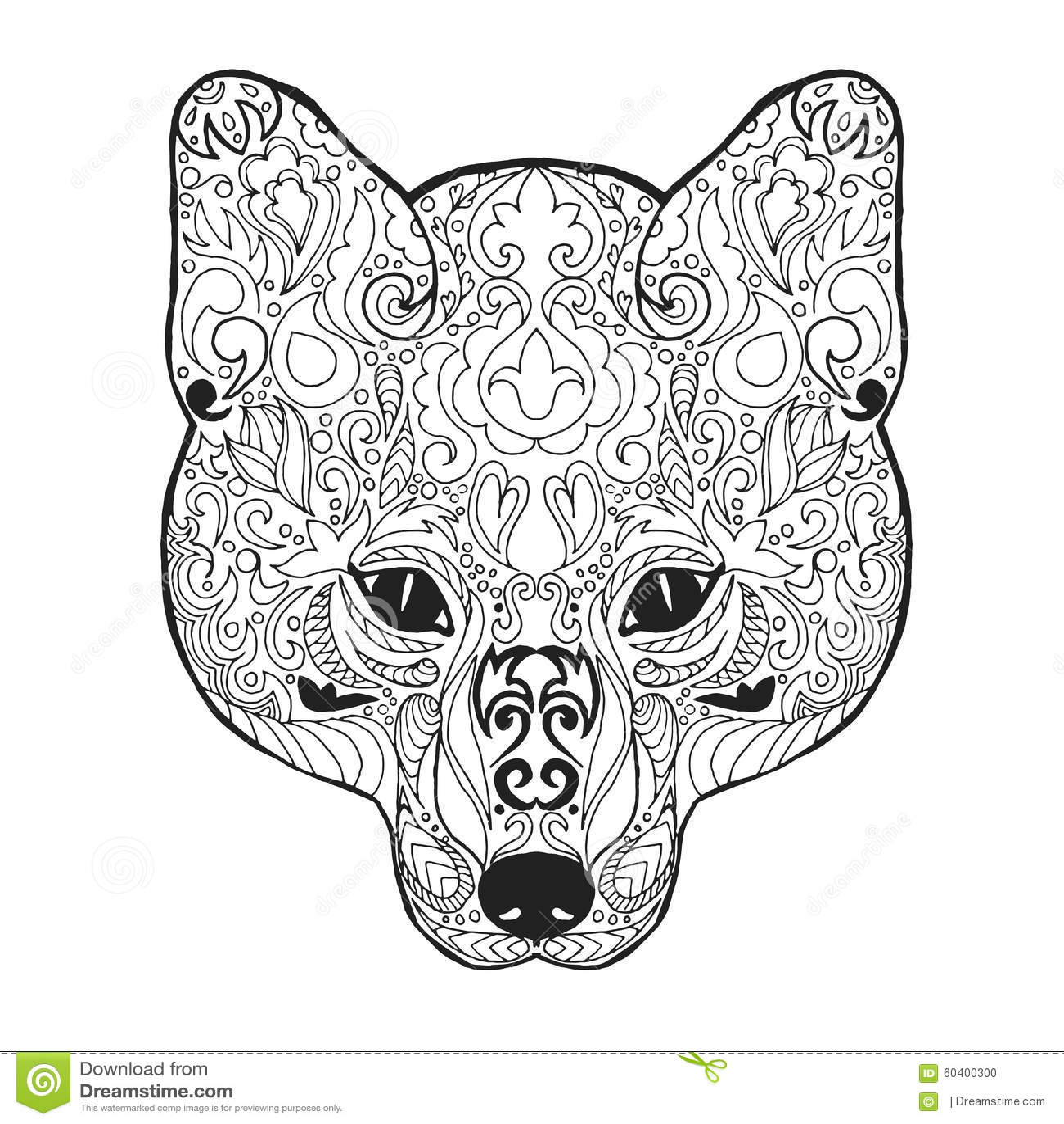 Zentangle Stylized Fox Head Sketch For Tattoo Or T Shirt