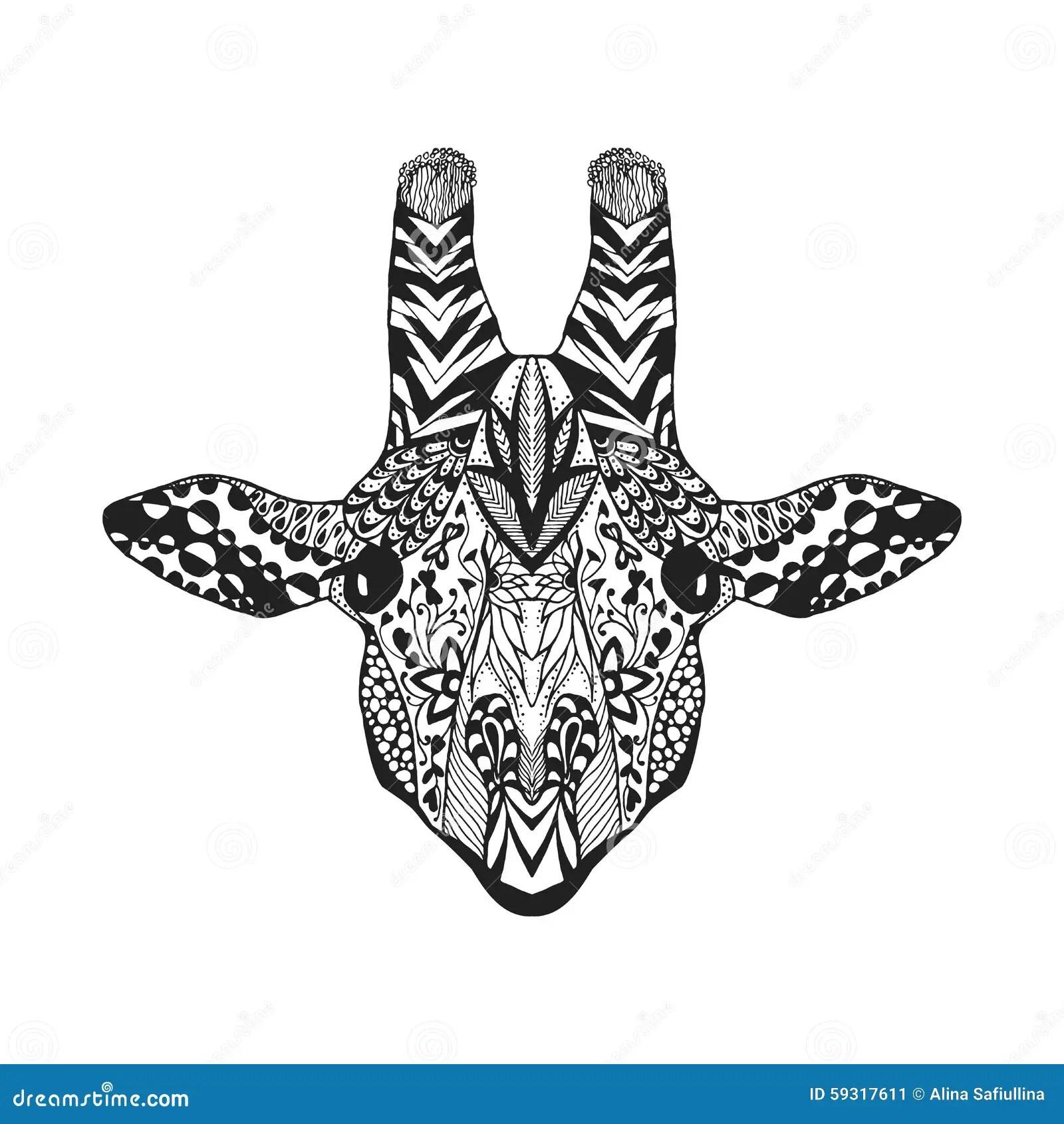 Zentangle Stylized Giraffe Sketch For Tattoo Or T Shirt