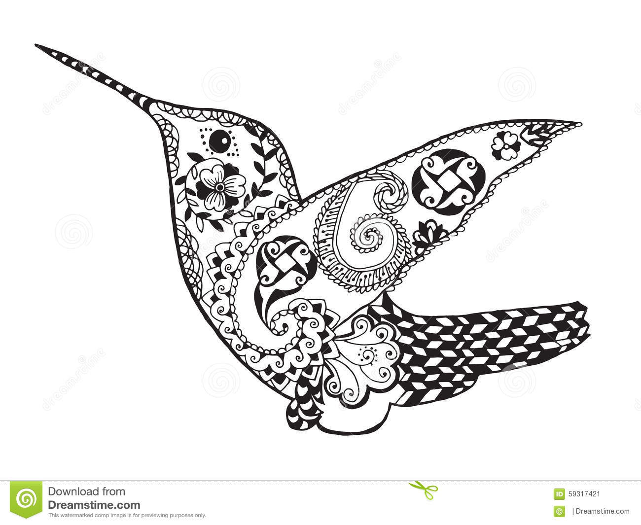 Zentangle Stylized Hummingbird Sketch For Tattoo Or T