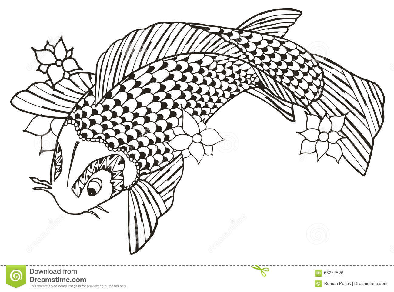 Vector Koi Fish Tattoo Cartoon Vector