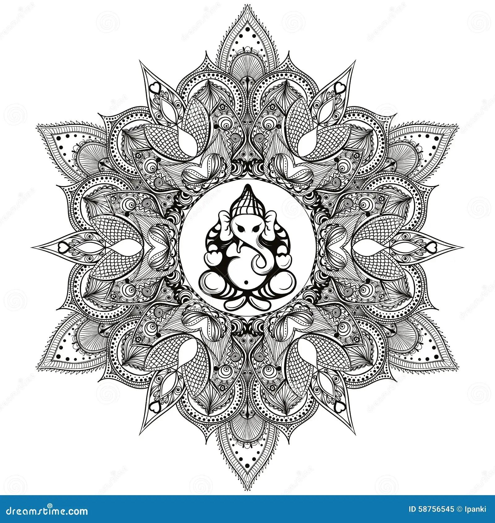 Zentangle Stylized Round Indian Mandala With Hindu