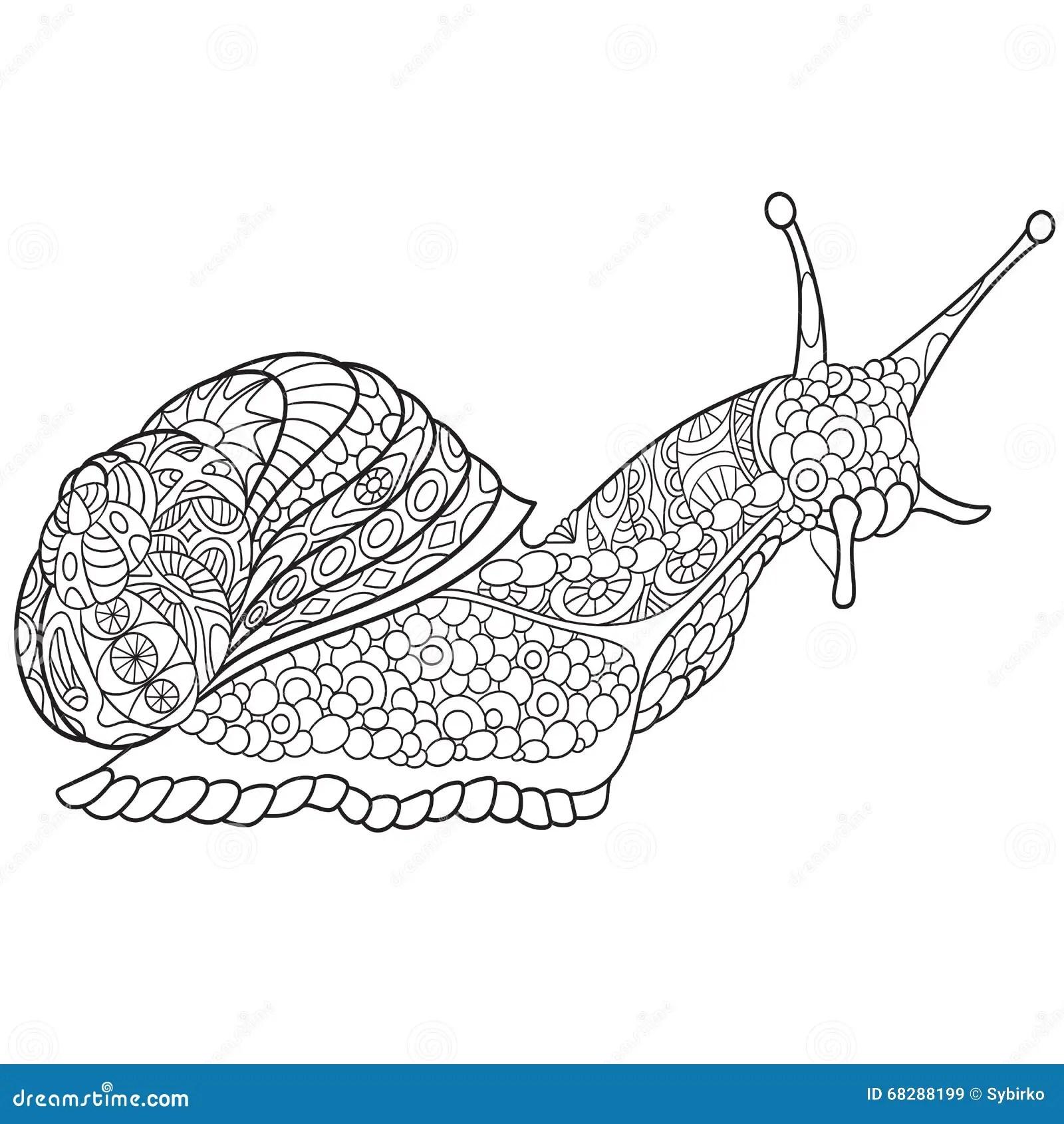 Zentangle Stylized Snail Cartoon Vector