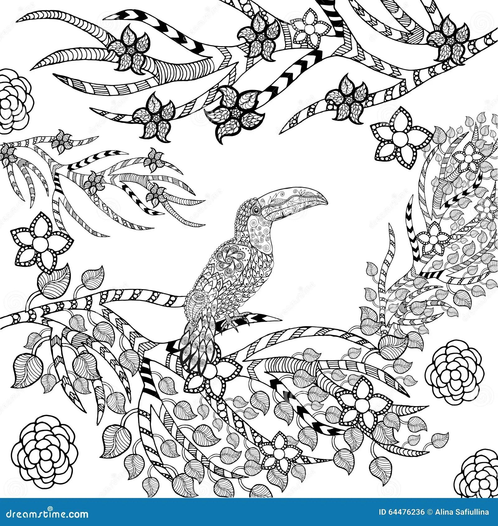 Zentangle Stylized Toucan In Flower Garden Stock Vector