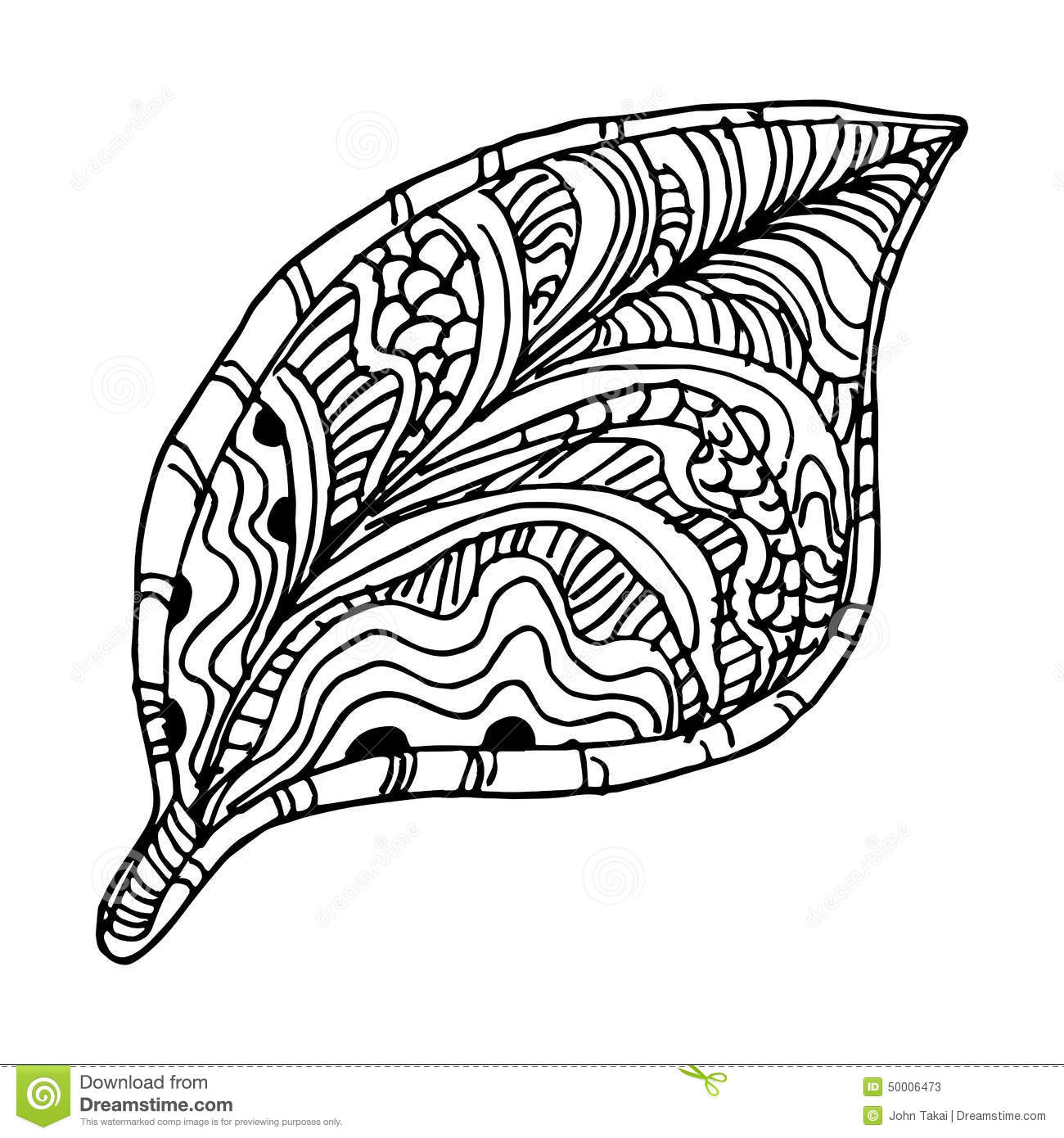 Zentangle Tree Leaf Stock Vector Illustration Of Simple
