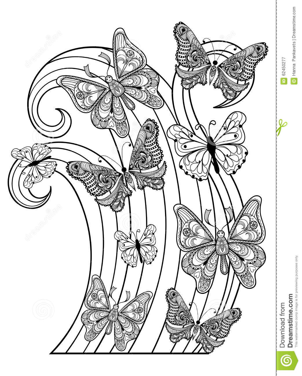 zentangle vector flying butterflies for adult anti stress colori stock