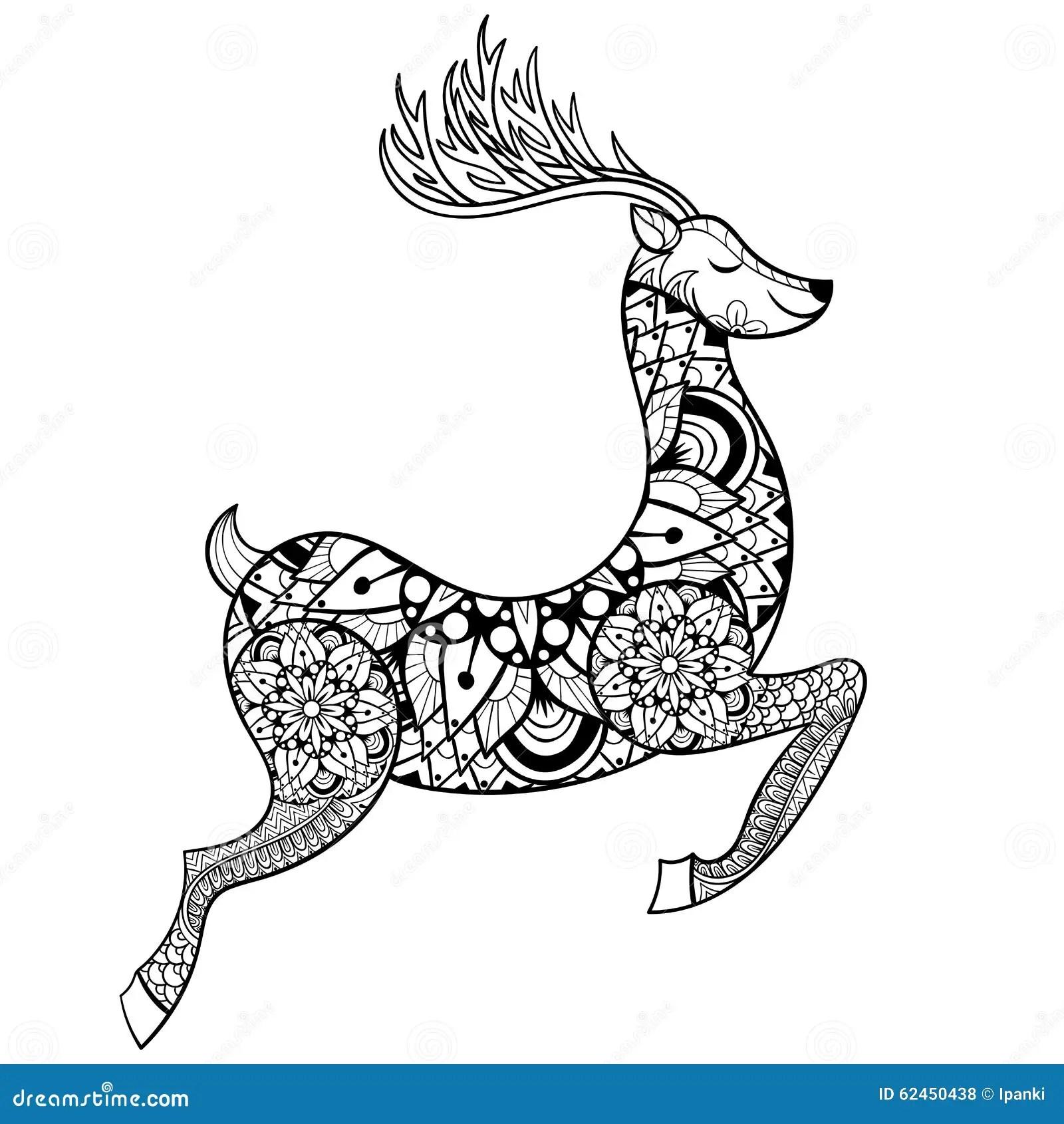Zentangle Vector Reindeer For Adult Anti Stress Coloring