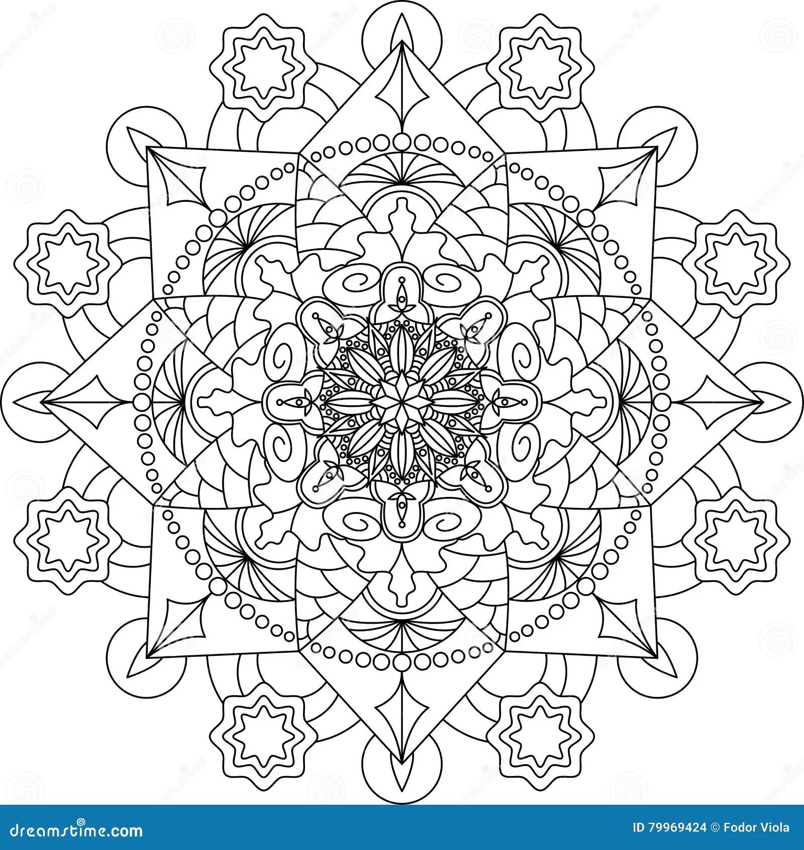 Zentangle Vuxen Farglaggningsida Mandala Vektor