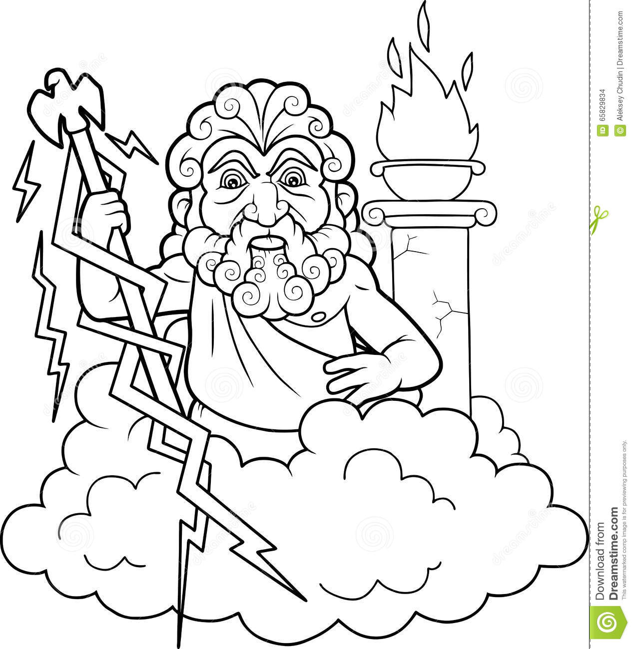 Zeus Is Going To Shoot Lightning Stock Vector
