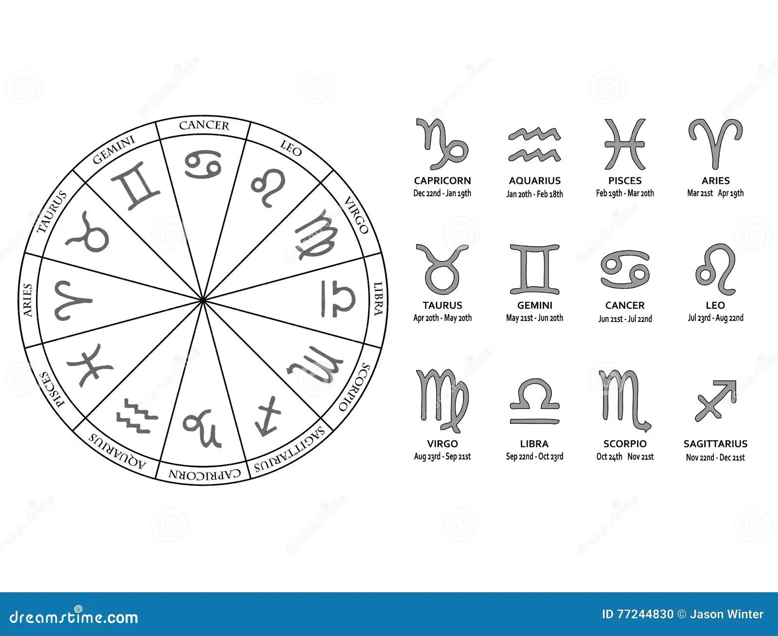 Zodiac Star Signs Stock Vector Illustration Of