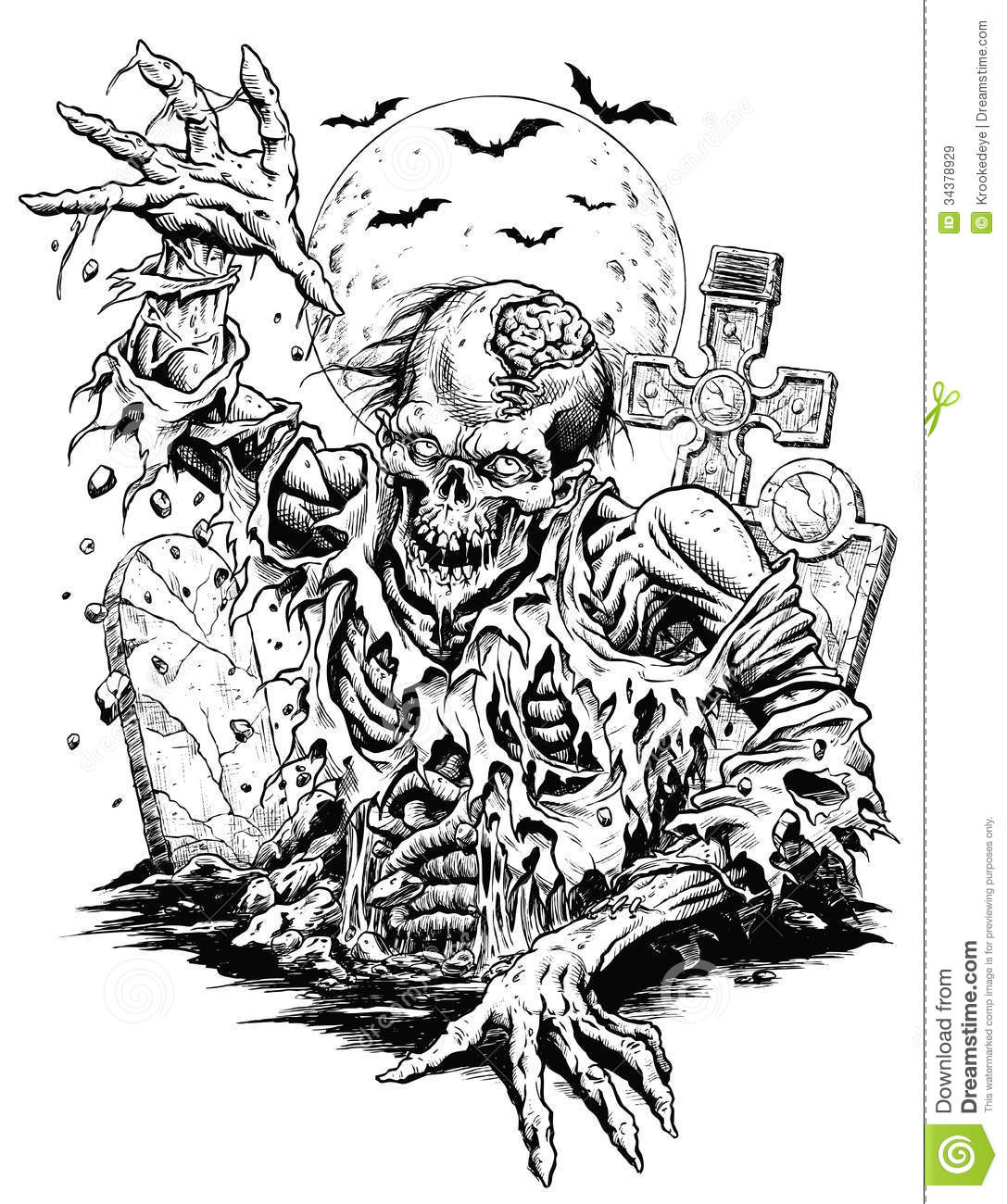 scary angry skull coloring page