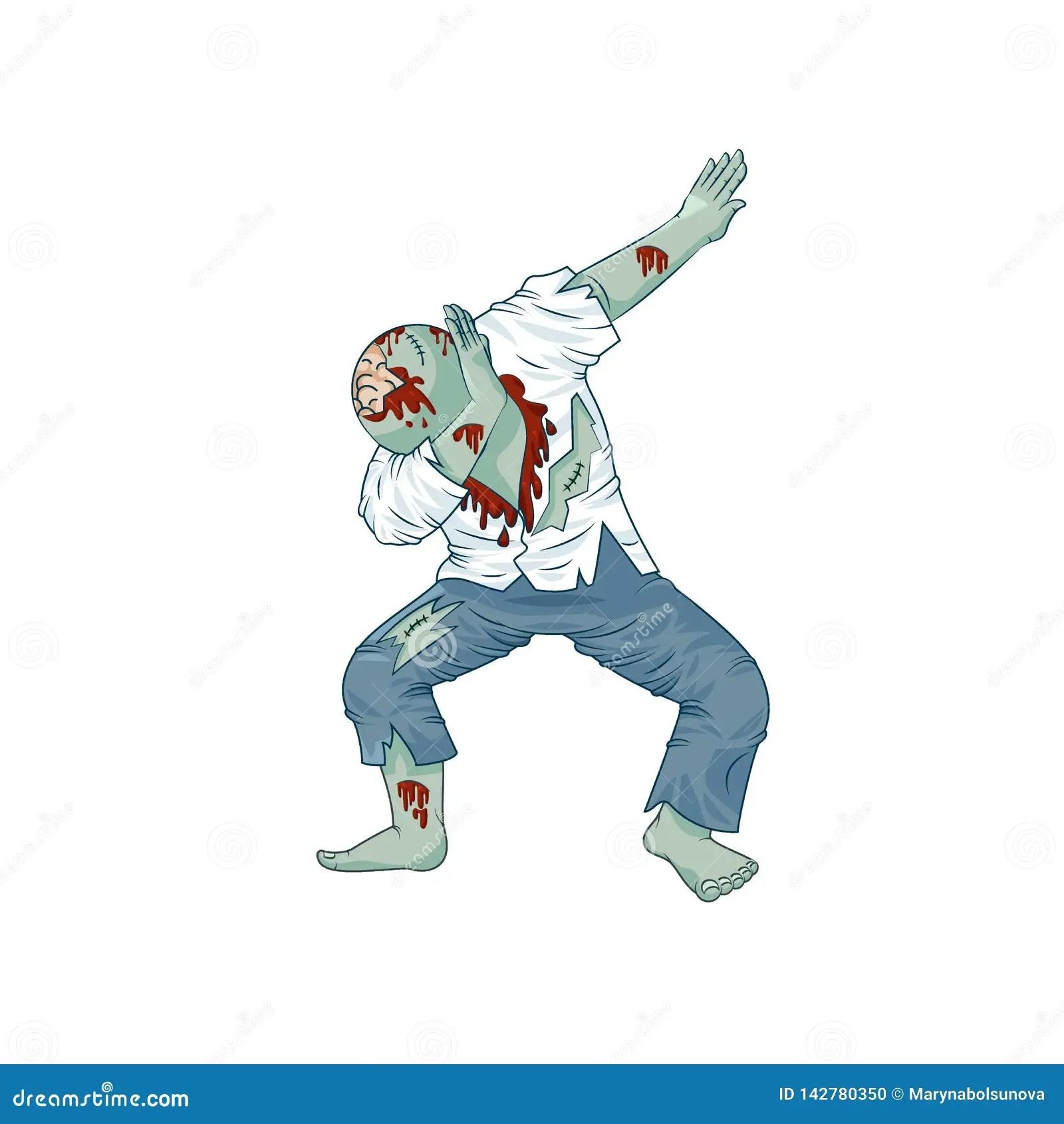 Zombie Walking Dead Man Character Dancing Dab Step Stock Vector