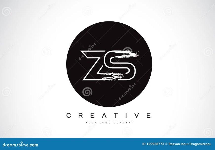 ZS Moderna Leter Logo Design Med Den Svartvita Monogrammet ...