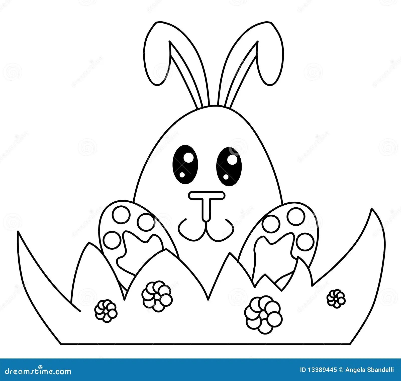 Zwart Witte Paashaas Stock Illustratie Illustratie