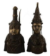 BRONZE BENIN COUPLE ROYAL- BINI EDO-OBA-NIGERIA-ART AFRICAIN -1220