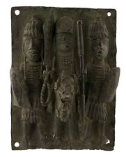 BRONZE AFRICAIN BENIN-PLAQUE DE PALAIS BINI EDO NIGERIA-40x29-1204