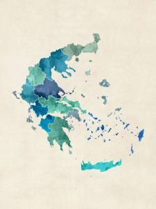 Stunning  Greece Map  Digital Artwork For Sale On Fine Art Prints    Greece Watercolor Map    by ModernArtPrints  2015
