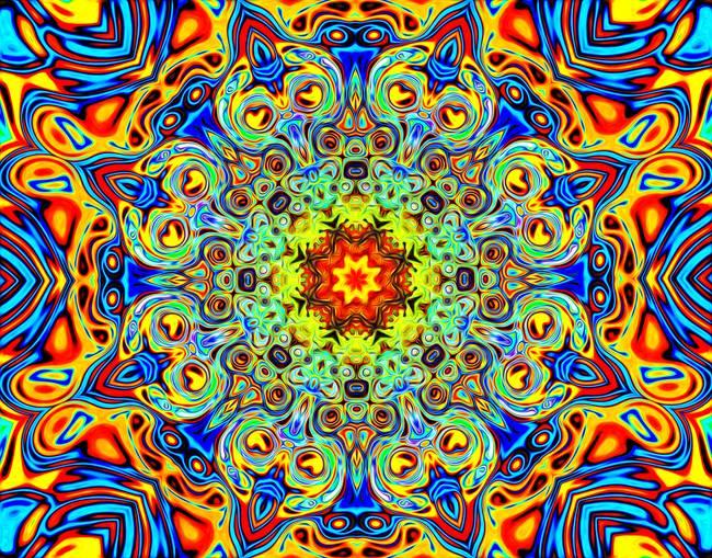 Psychedelic Melting Pot Mandala posters and prints