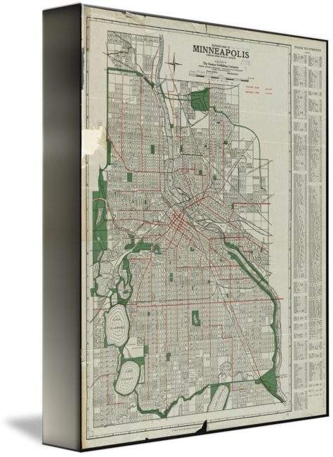 Vintage Map of Minneapolis Minnesota  1921  by Alleycatshirts  Zazzle
