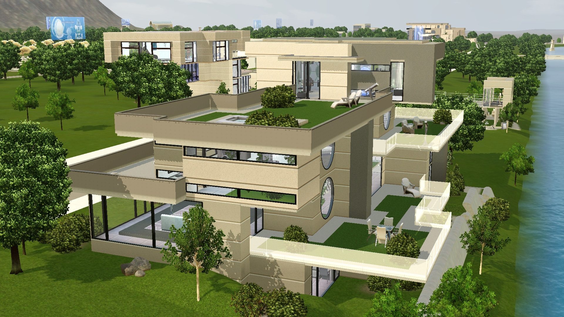 Mod The Sims Long Waterside Futuristic House