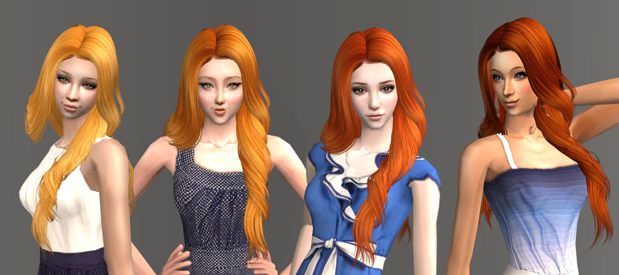 Mod The Sims 4 Red Recolors For 5 Skysims Hairstyles
