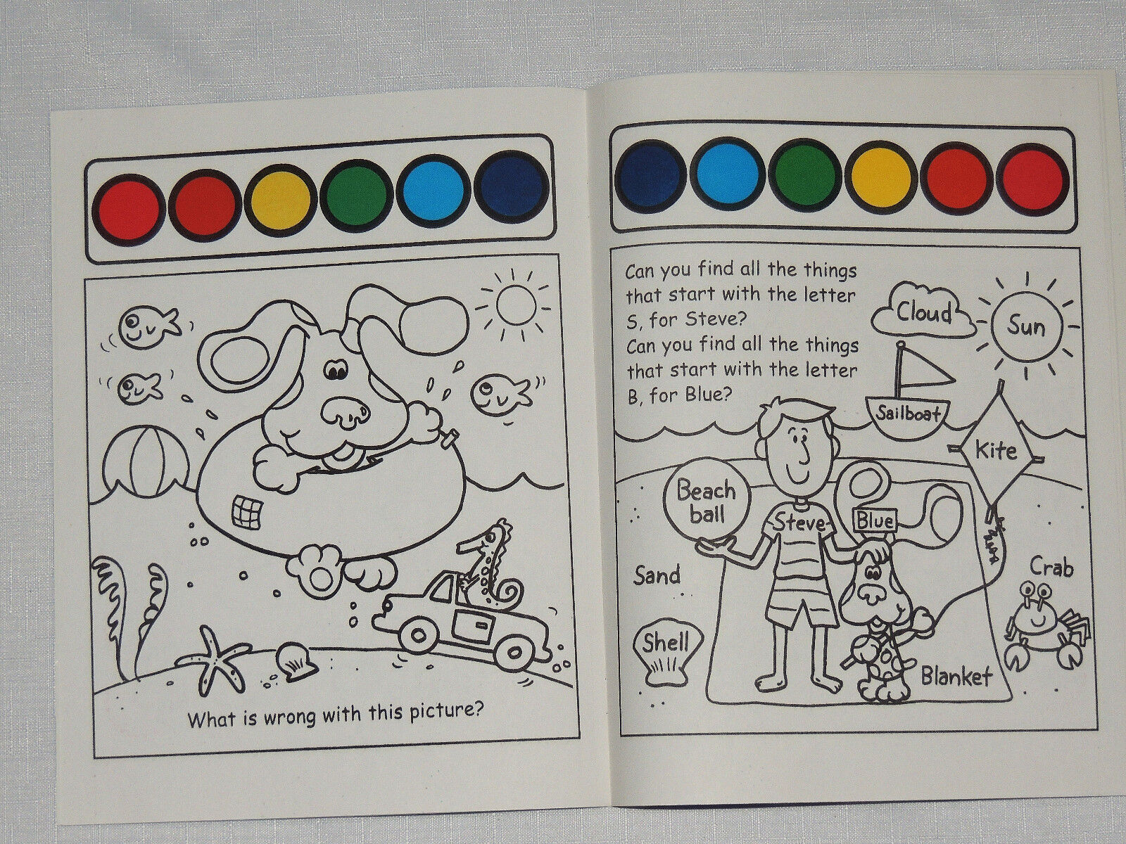 blue s clues paint with water coloring book a day a the beach from