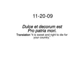 Dulce Et Decorum Est In English K Club Theme Of The Day