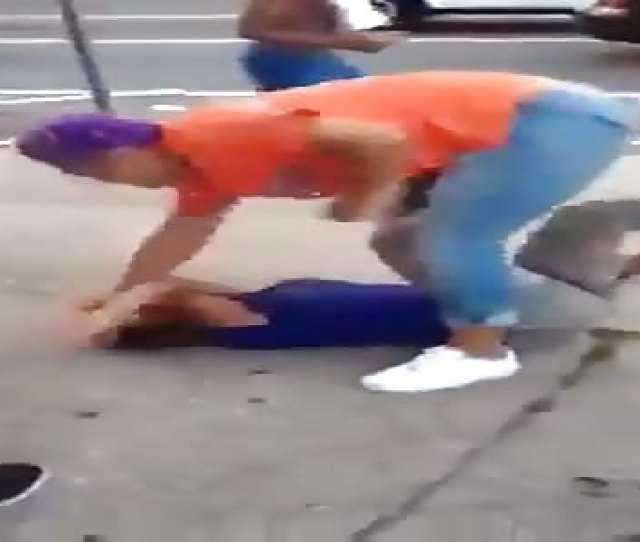 Watch This Mother Literally Beat Her Daughters Ass On The Street For Getting Caught Sucking Dick
