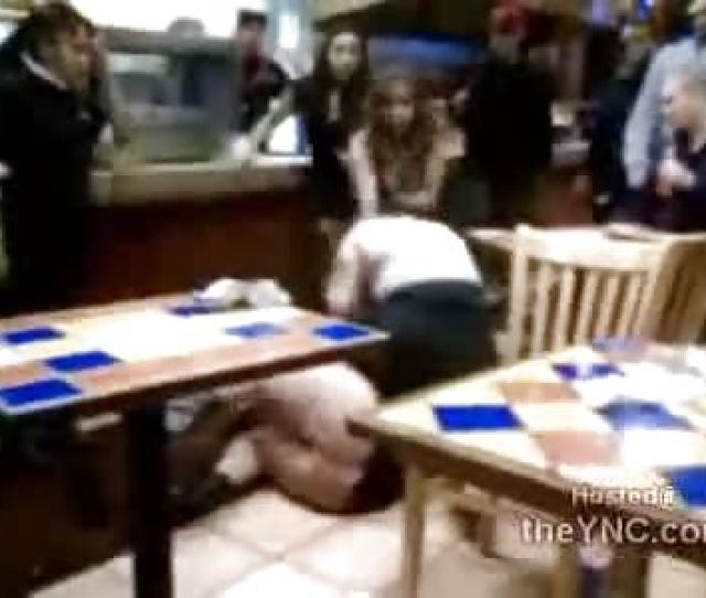 Fat Girl With Big Ass Out Of Dress Fights On The Restaurant Floor