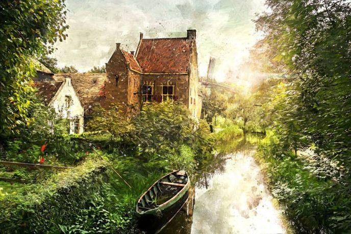 Oud Hollands Landschap geschilderd