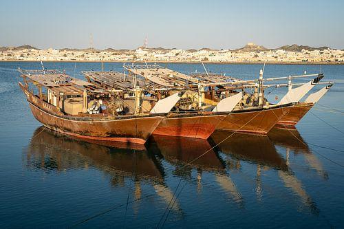 Dhows op Masirah Eiland Oman