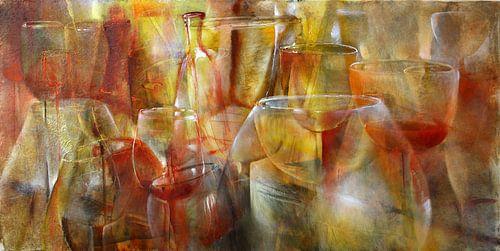 Party - Gläser und Flaschen in gelb, gold und ocker