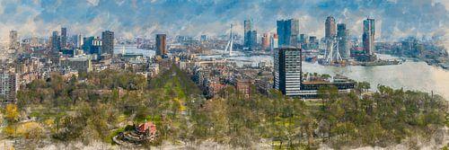 Geschilderde panorama van de skyline van Rotterdam