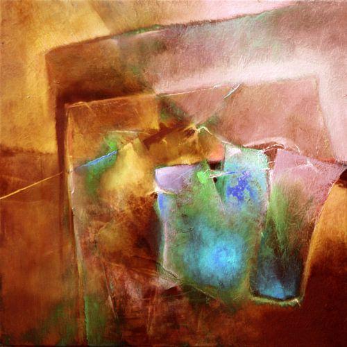 Abstrakte Komposition : Türkis trifft Siena