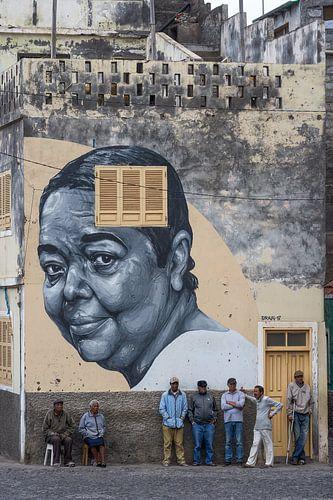 Muurschildering van Cesária Évora