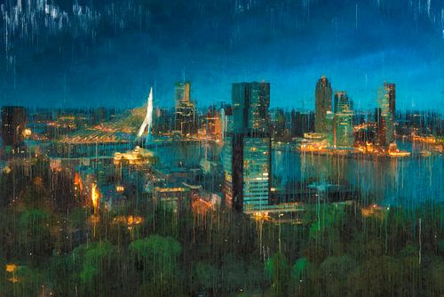 Skyline van Rotterdam bij nacht geschilderd