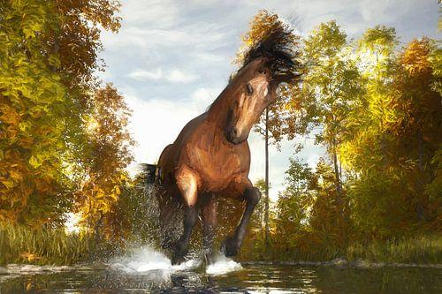 Geschilderd rennend paard