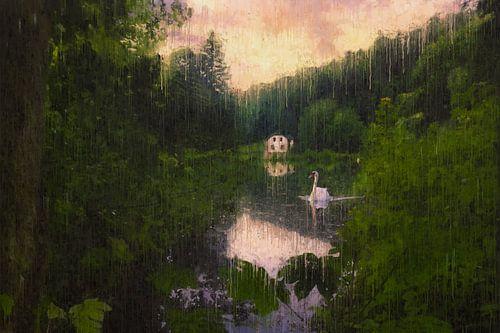 Witte zwaan bij het witte huis aan het water