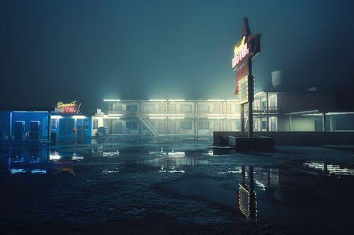 Amerikaans Motel bij nacht