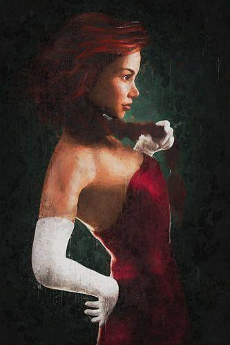 Rood Geschilderd Portret