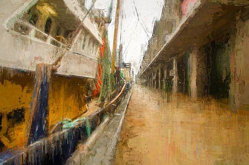 Scheveningen kade met vissersschepen