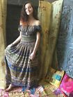 BOHO GYPSY HIPPIE MAXI DRESS PRINTED OFF SHOULDER HOLIDAY FREE FALLING SUNDRESS