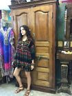 Boho Hippie Summer Tunic Black Printed Loose Shift Beach Tunic Swimsuit Cover UP