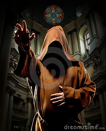 Preaching monk in church Stock Images