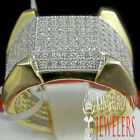MEN'S NEW .925 STERLING SILVER BIG BOLD DESIGNER PINKY RING BAND YELLOW GOLD EP