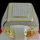 SOLID SILVER YELLOW GOLD PLATED MEN'S BIG BOLD LAB DIAMOND RING BAND NEW PINKY