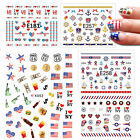Nail Stickers Self-adhesive Summer America 4th of July Flag President's Day Star