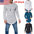 US Fashion Men's Slim Fit V Neck Long Sleeve Muscle Tee Mens T-shirt Casual Tops