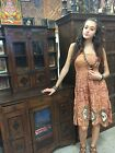 Boho Gypsy Hippie Beach Dress Strappy Printed Smocked Bodice Summer Dresses S/M