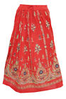 WOMEN'S RED MAXI SKIRT RAYON GYPSY LONG PEASANT SKIRTS
