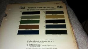 1940 Ford color chart